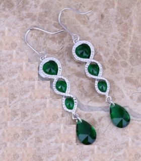 Silver Earrings Four Emerald