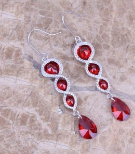 Silver Earrings Four Ruby