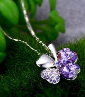 Purple Clover Necklace
