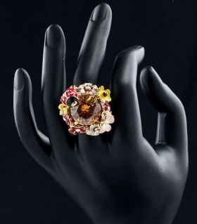 Ring floral bouquet with Austrian crystals
