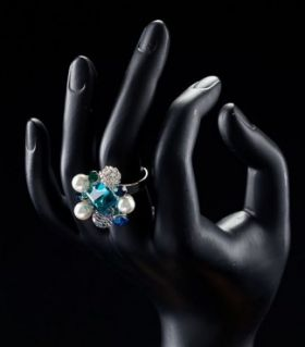 Ladies ring with crystal blue glow