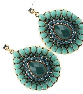 Earrings with Green Crystals
