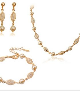 Set gold pearl crystal mix