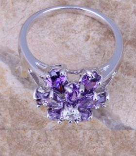 Purple radiance ring with amethyst