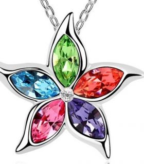 Necklace multicolored Austrian crystals