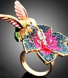 Gold Ring with crystal hummingbird