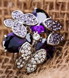 Amethyst ring and butterflies at purple