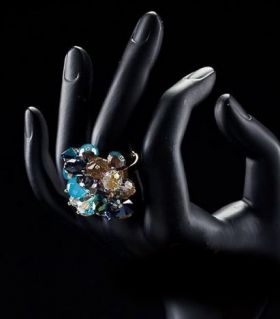 Austrian royal ring with blue crystals