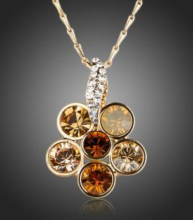 Fiery citrine necklace with crystals