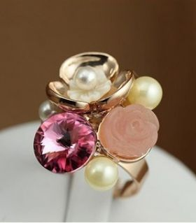 Ring pearls and rose tourmaline